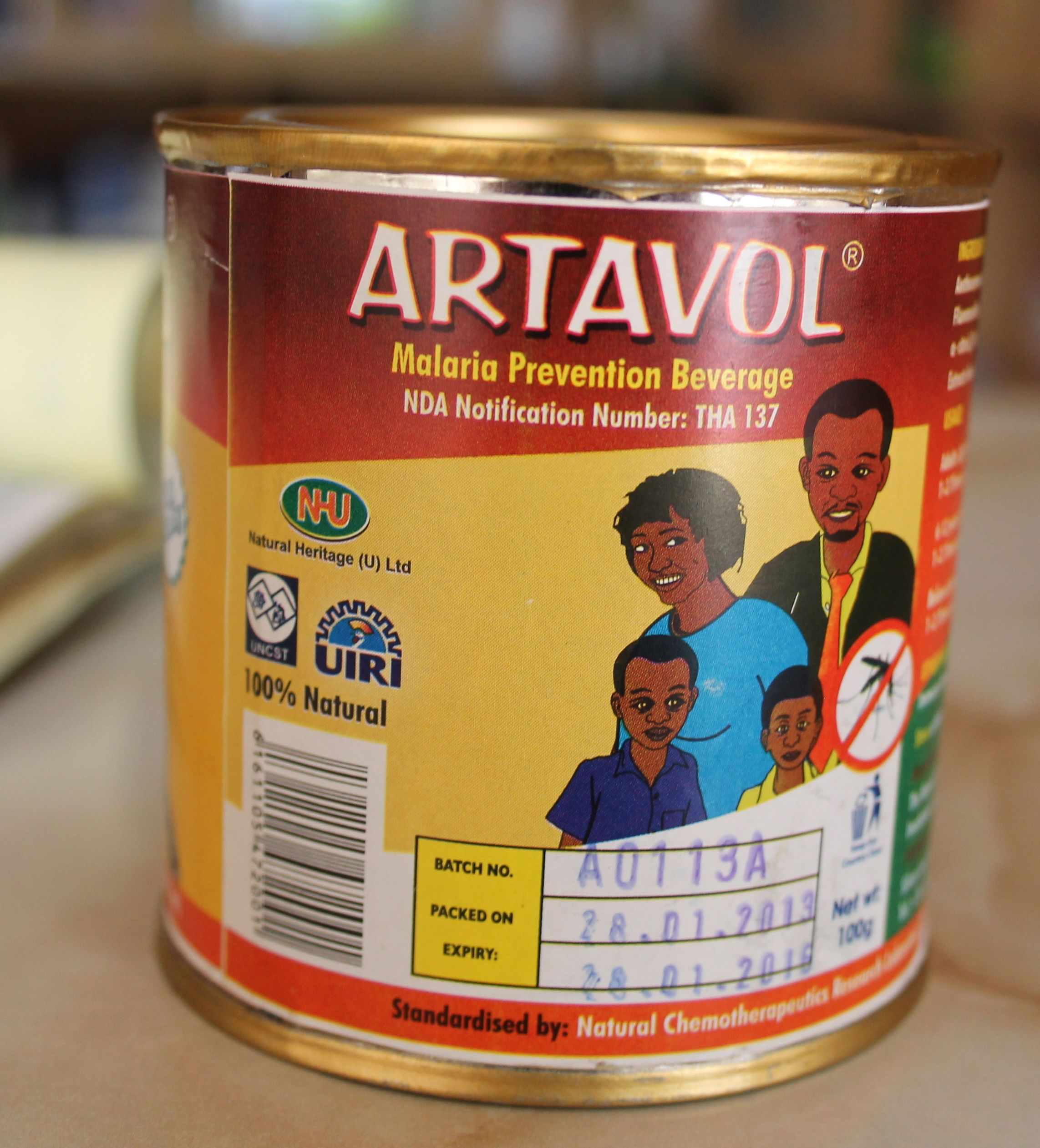 An untested antimalarial beverage derived from  Artemisia annua   and sold in Ugandan pharmacies