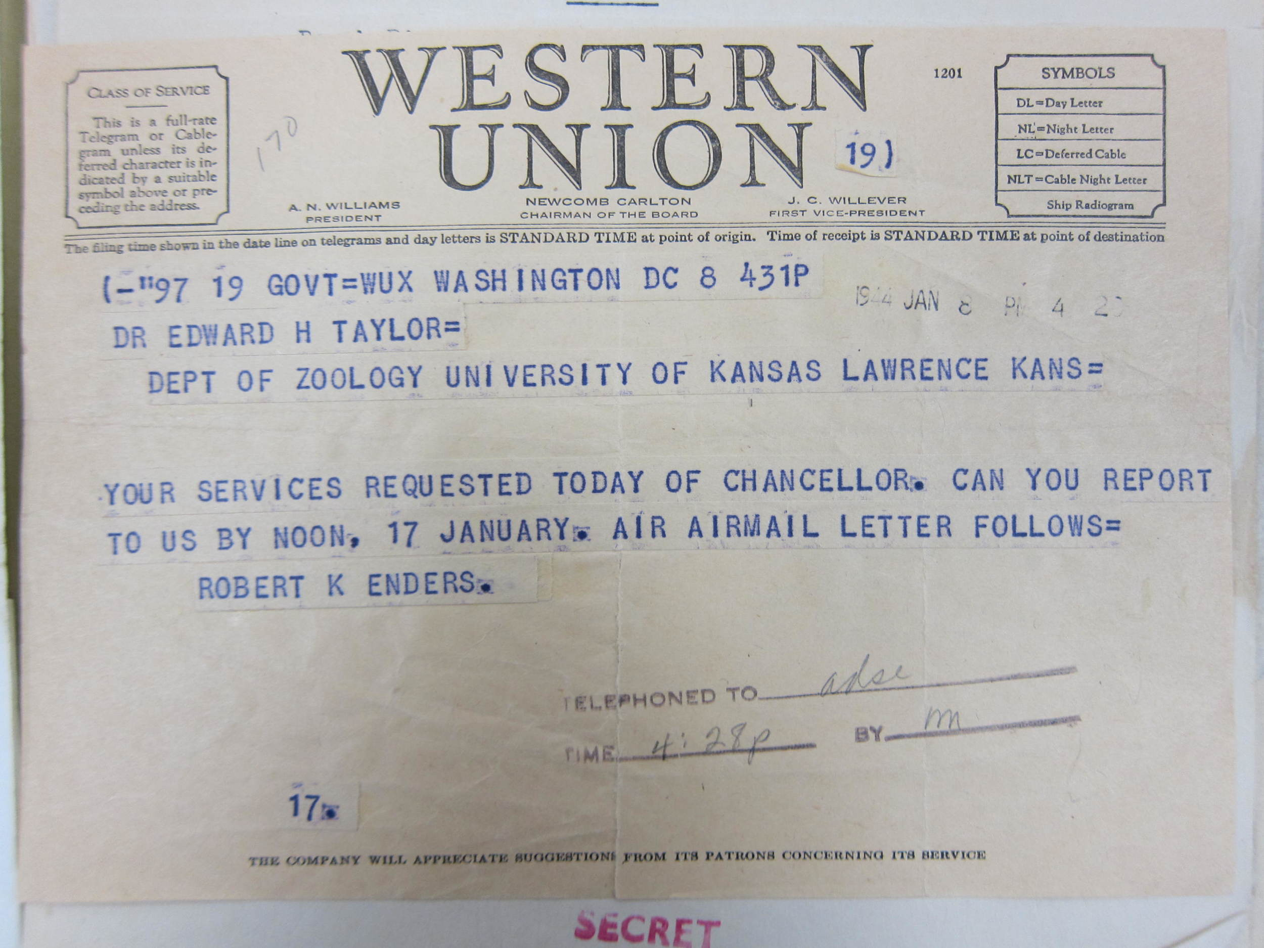 Western Union telegram ordering Taylor to report to the OSS in Washington DC