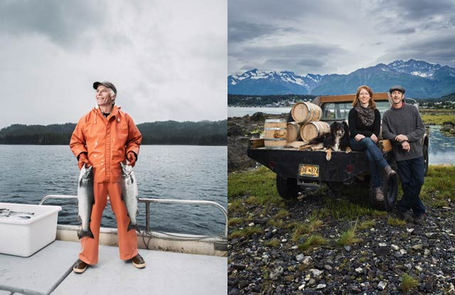 LAND AND WATER: (left) Conservancy staffer and commercial fisherman Michael Kampnich is among those working to ensure that Southeast Alaska's forests and streams remain healthy and full of the region's lifeblood—salmon. (right) Local herbs flavor small-batch liquors made at Heather Shade and Sean Copeland 's Port Chilkoot Distillery. They were among the winners of a grant contest the Conservancy helped develop to support the growth ofsustainable small businesses. © Chris Crisman
