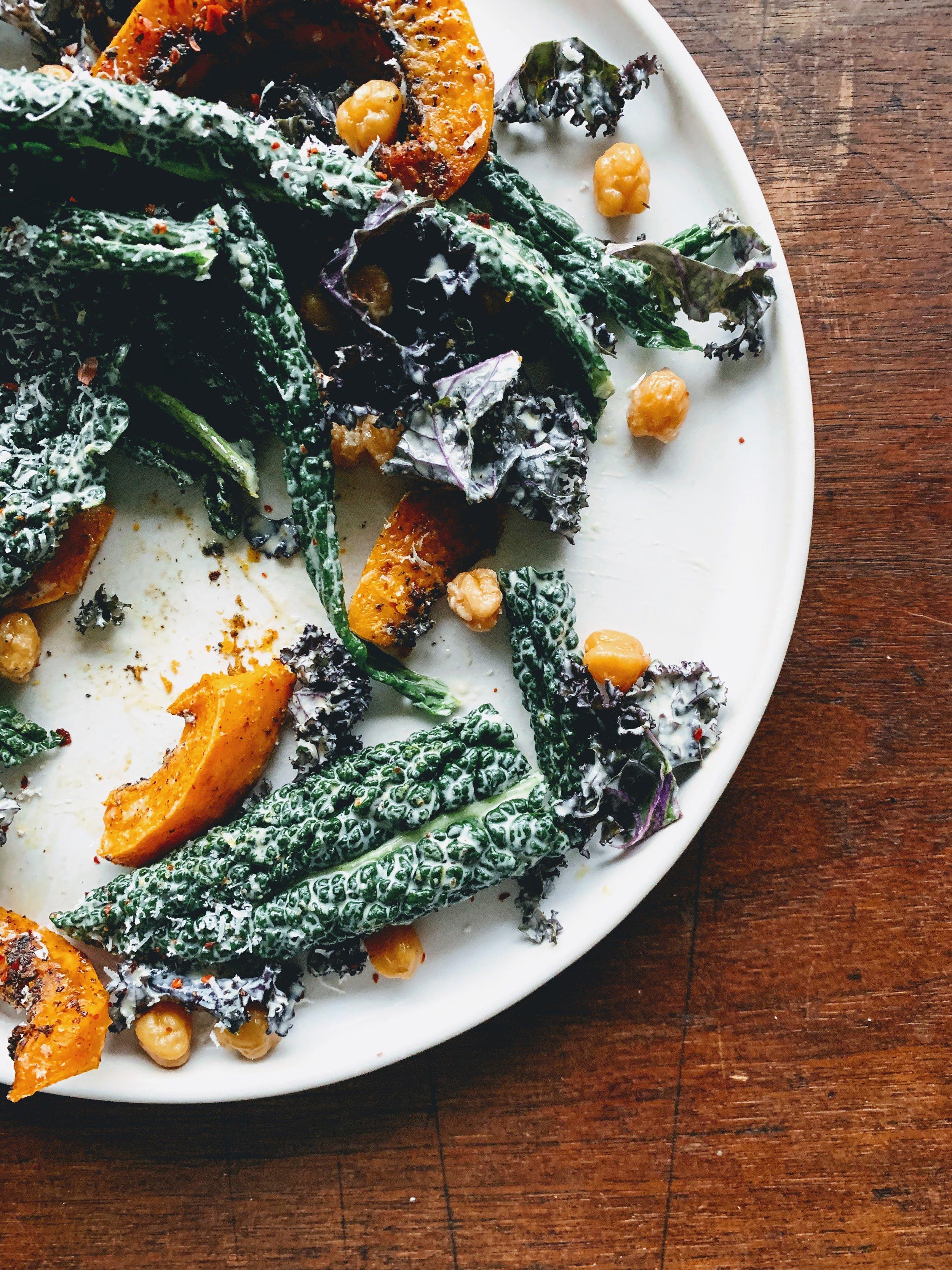 Mediterranean Kale Salad with Tahini Caesar Dressing