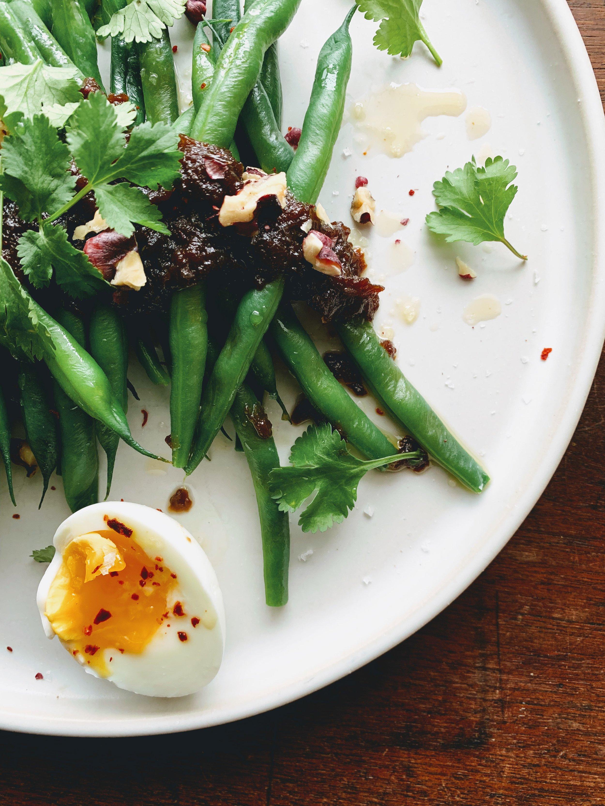 Green Bean Breakfast Salad with Onion Bacon Jam Vinaigrette