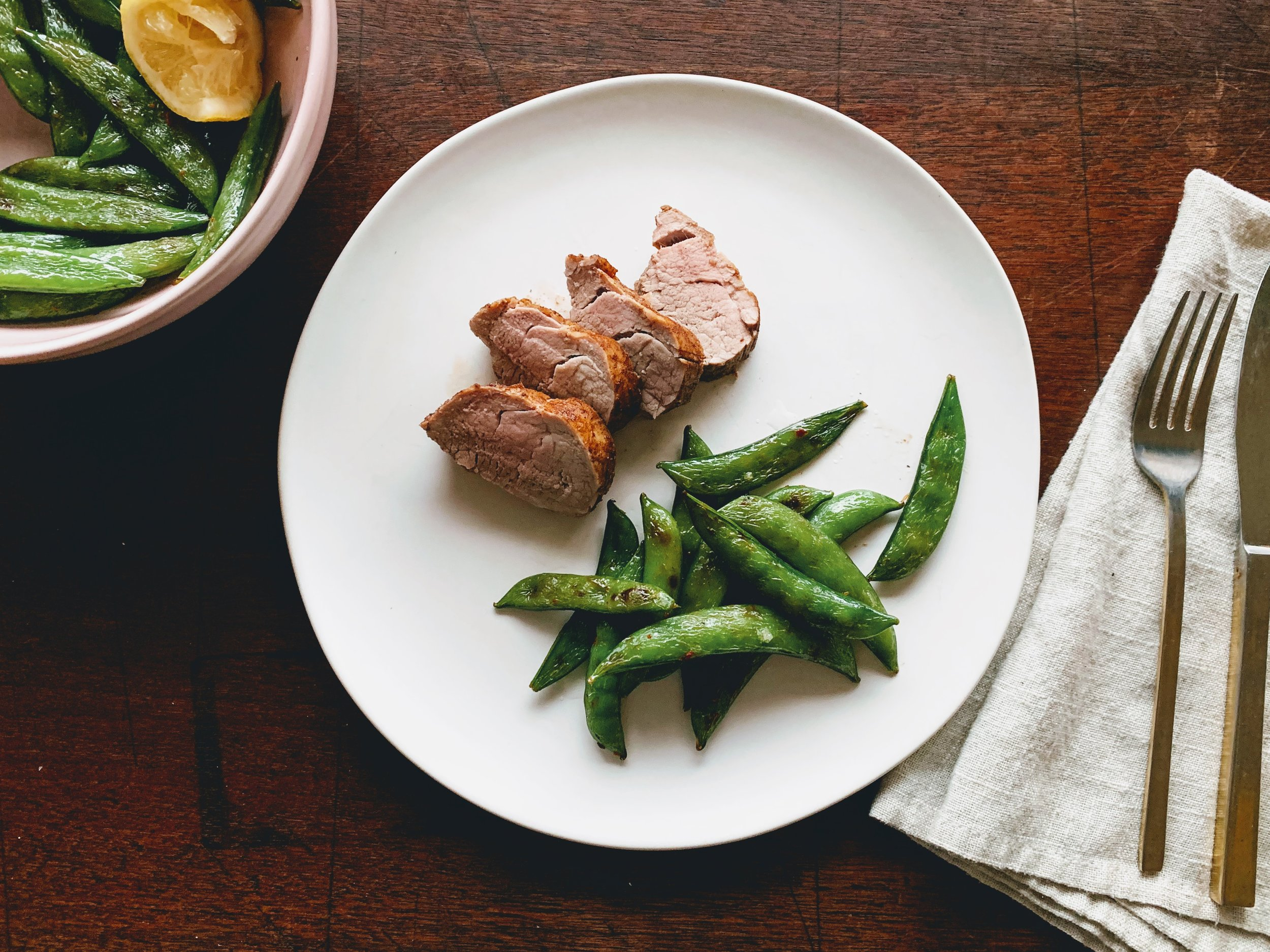 Chinese 5 Spice Pork Tenderloin with Blistered Snap Peas