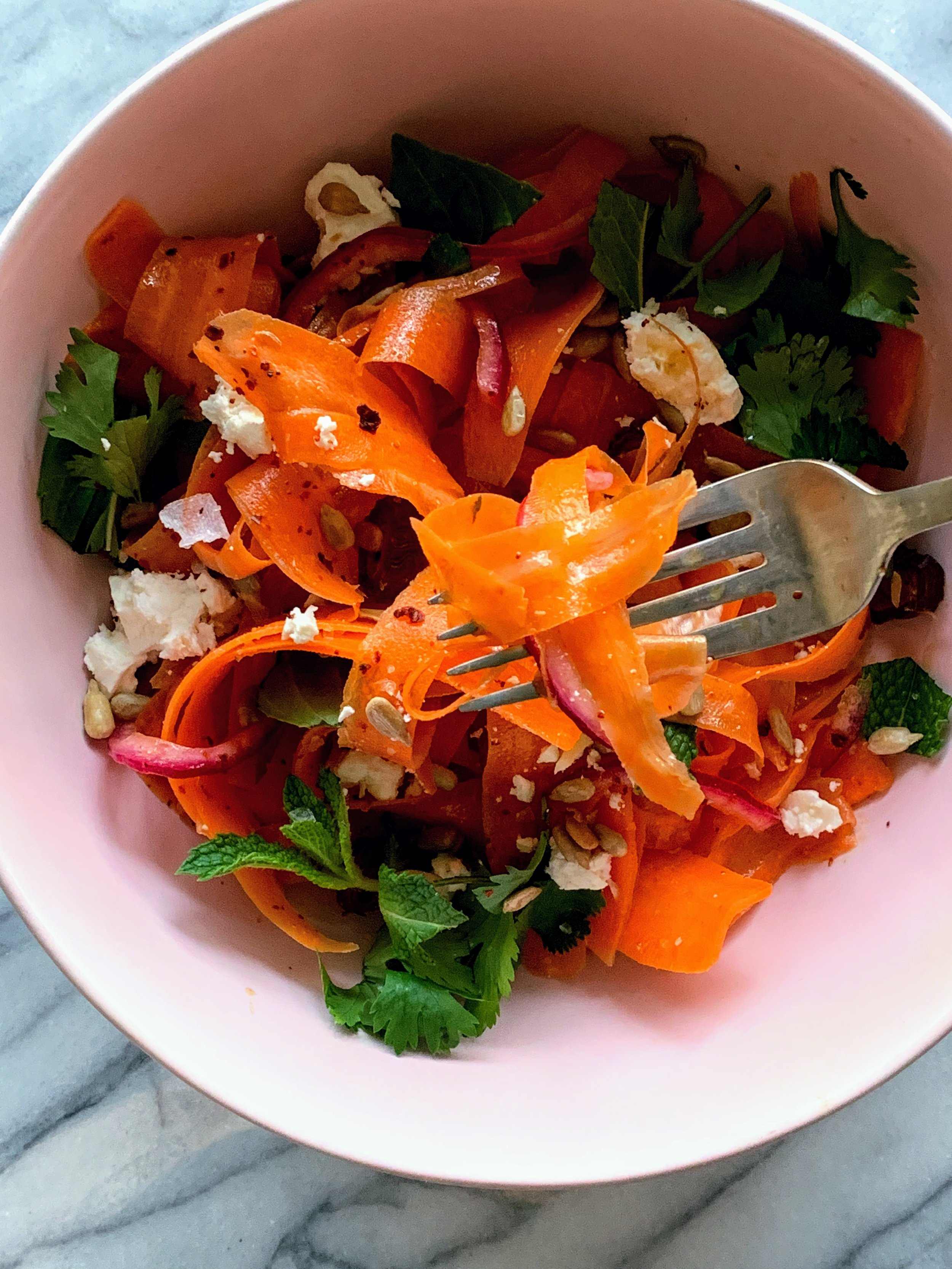 Carrot Salad with Harissa Lime Dressing with fork.jpg