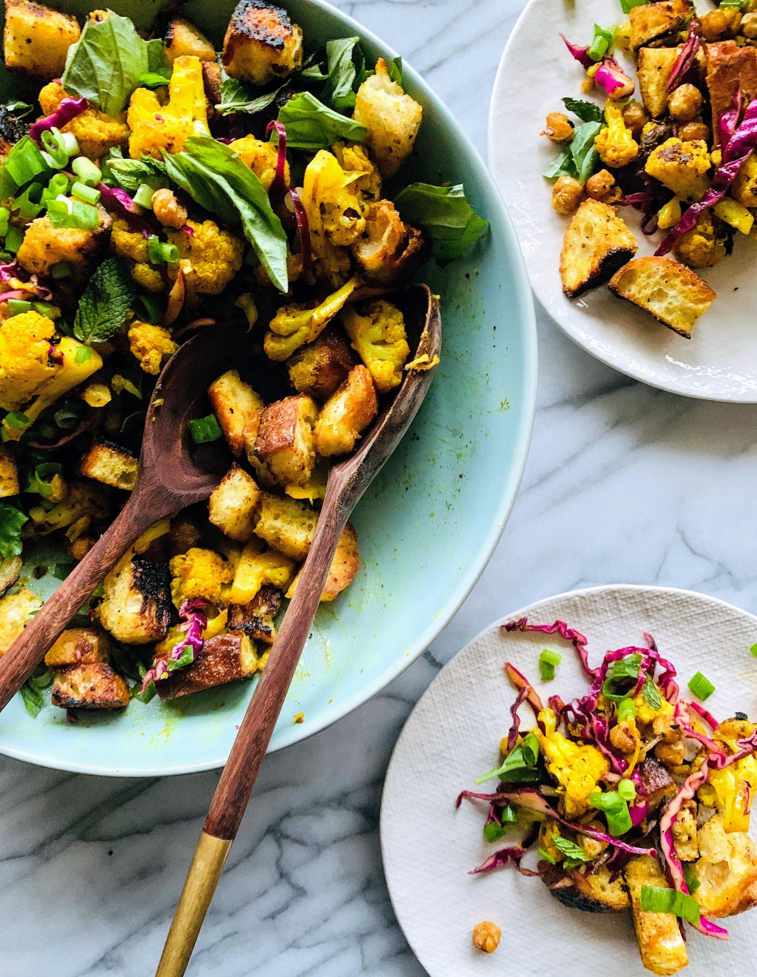 Curried Cauliflower Panzanella Salad