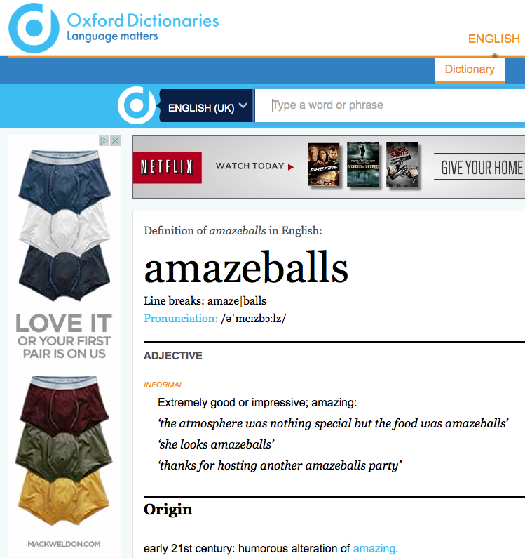 "The advertisement served up when looking up ""amazeballs"""