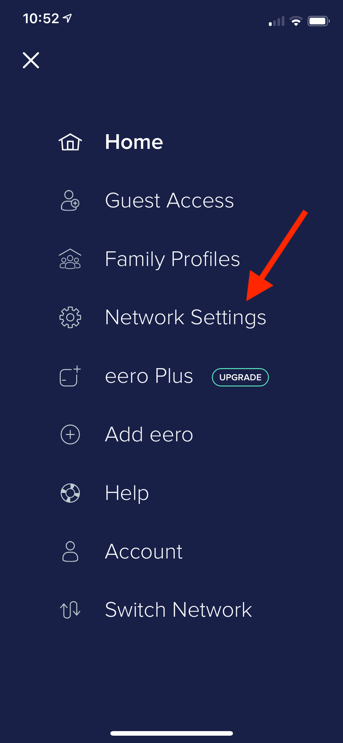 Touch Network Settings