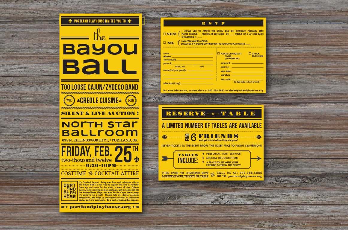 CLIENT: Portland Playhouse   PROJECT: The Bayou Ball Fundraiser Invitation & Event Identity