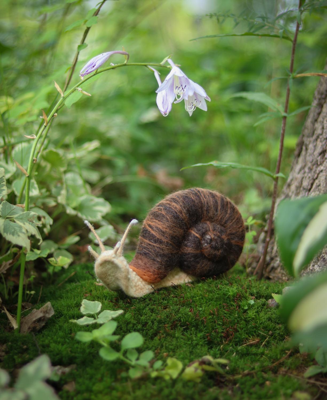 Felted Snail by Lavender & Lark