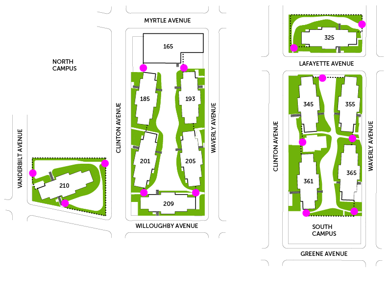 Finally, we've identified locations for garden gates (shown in pink) which will allow residents to access any of the courtyards and gardens directly from the street. These gates will also allow residents to cut through the gardens and courtyards to seek out the shortest route to their destination.