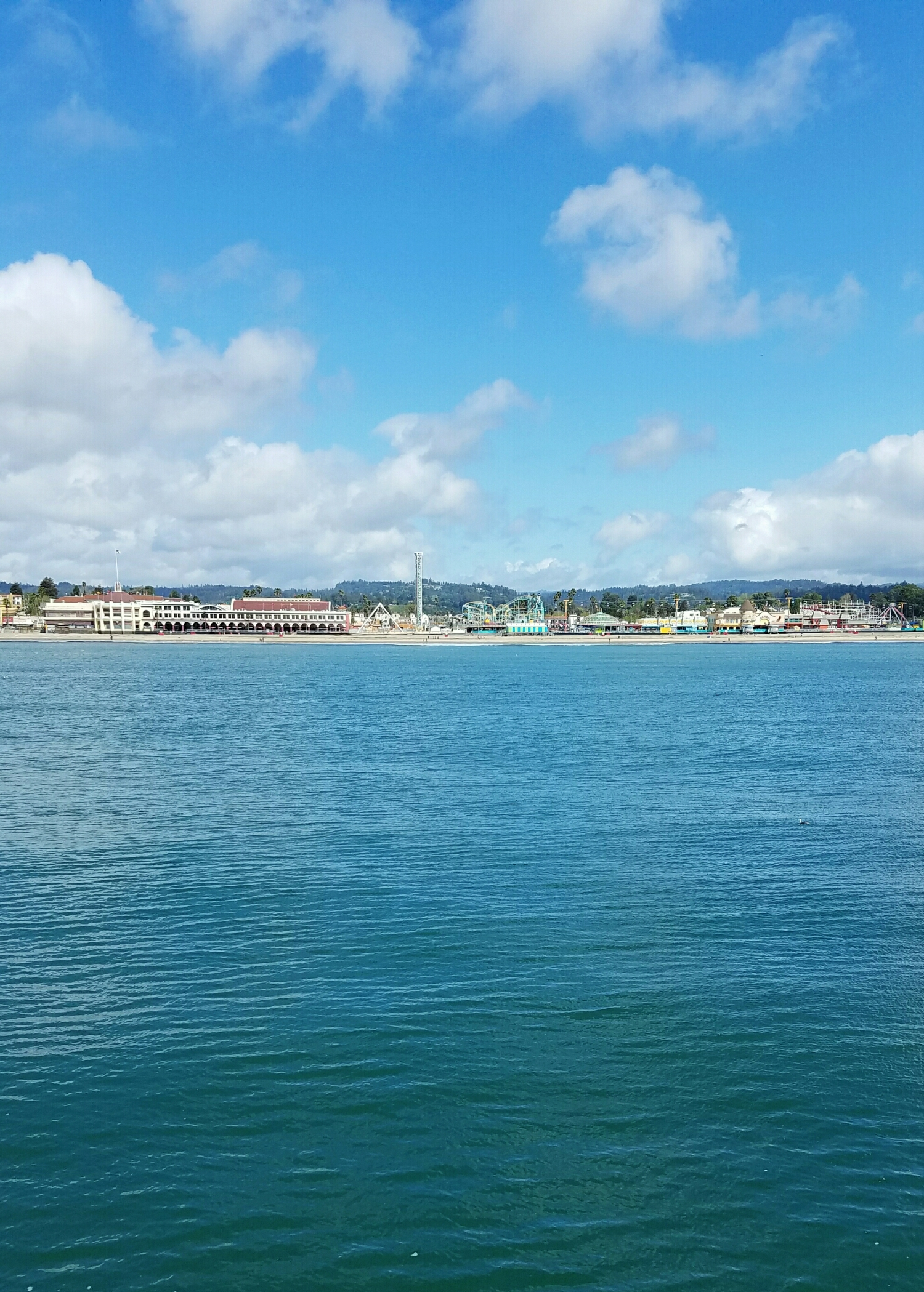 The view of the Santa Cruz boardwalk and beach from the wharf.