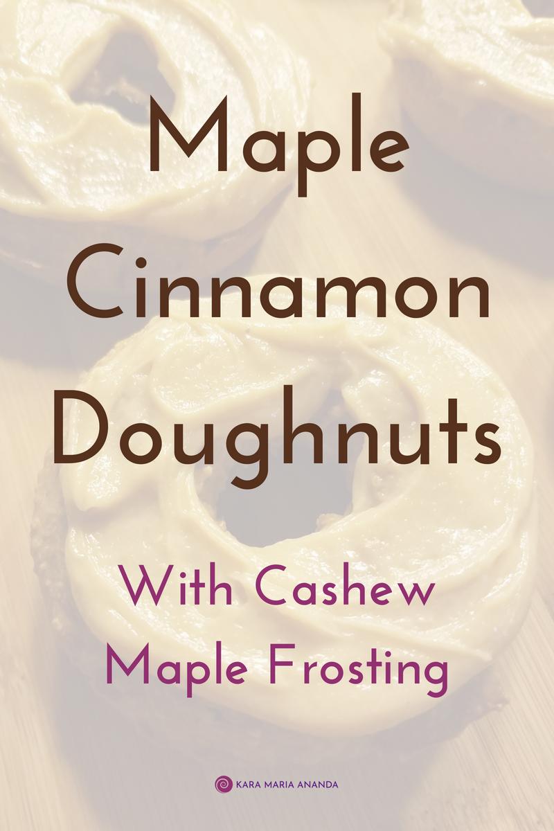 Maple Cinnamon Donuts with Cashew Maple Frosting recipe #glutenfree #organic #recipe #doughnuts #donuts
