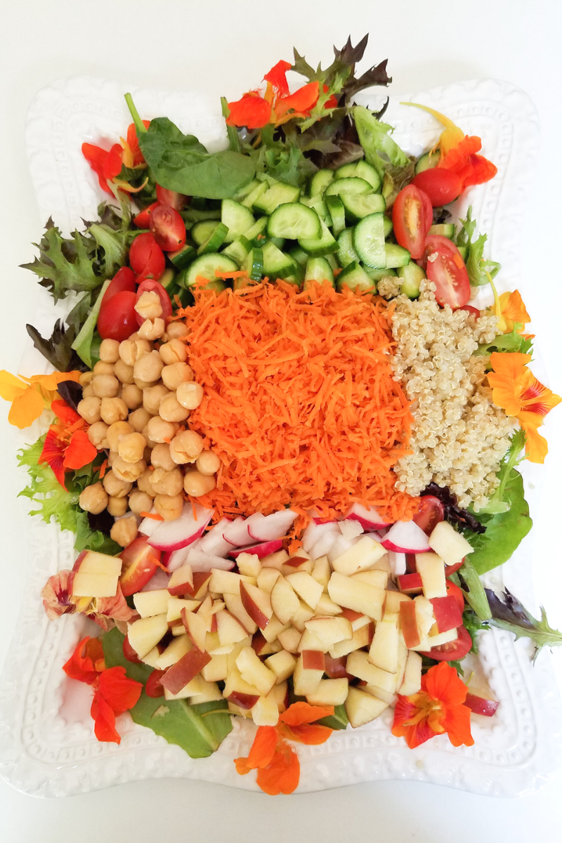 Salad Platter with Maple Mustard Vinaigrette Dressing
