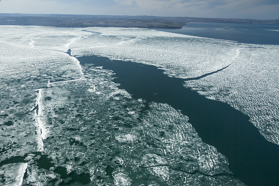 Ice breaking up on the Chequamegon Bay of Lake Superior.