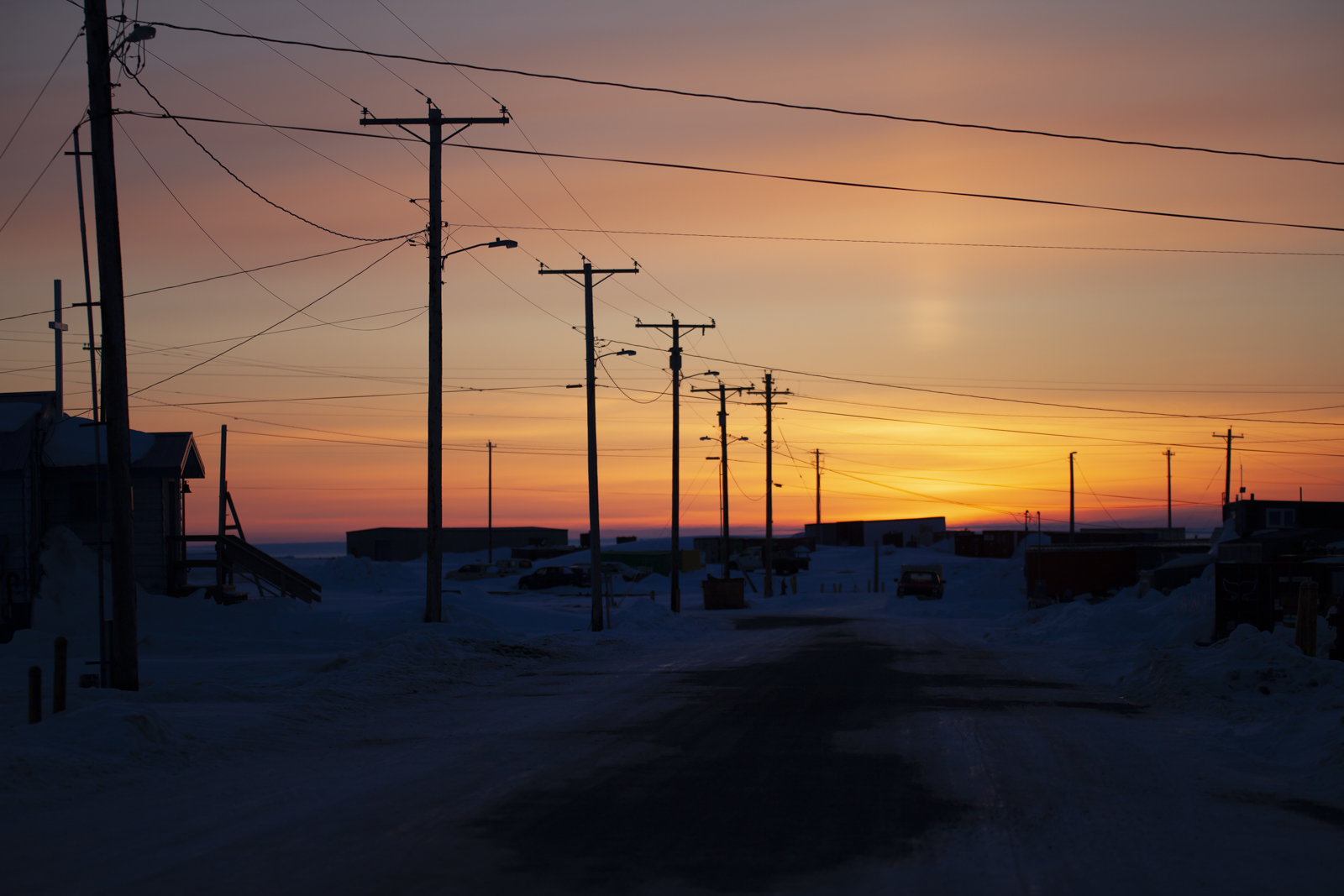 A long spring sunset in Kaktovik, 11 pm.