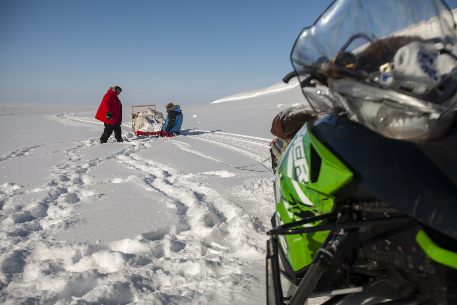 Craig and Charly adjust the tow line for one of the sleds carrying food and gear.