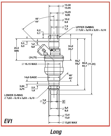 EV1 Injector Dimensions