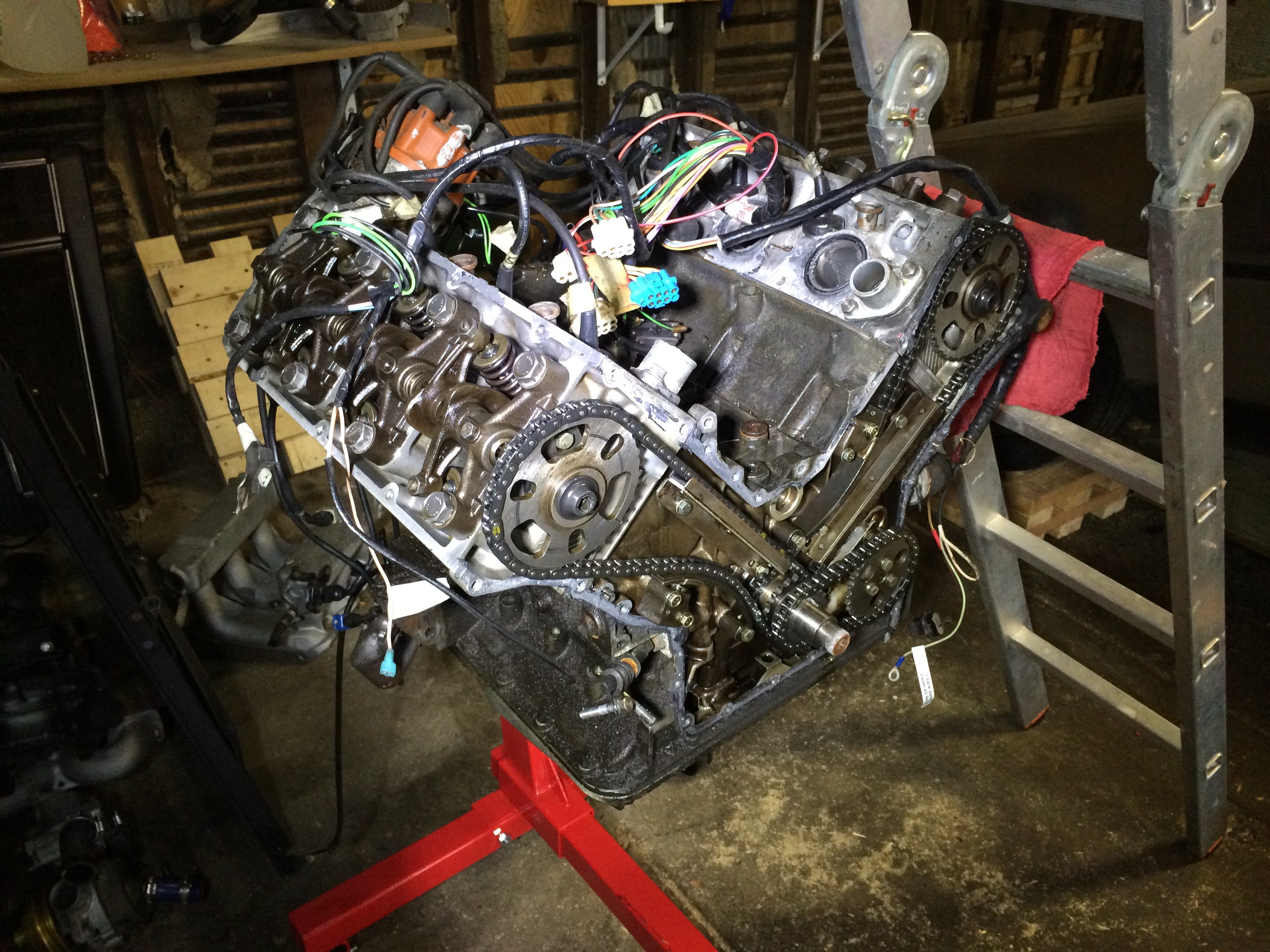 Another view showing the timing cover and valve covers removed