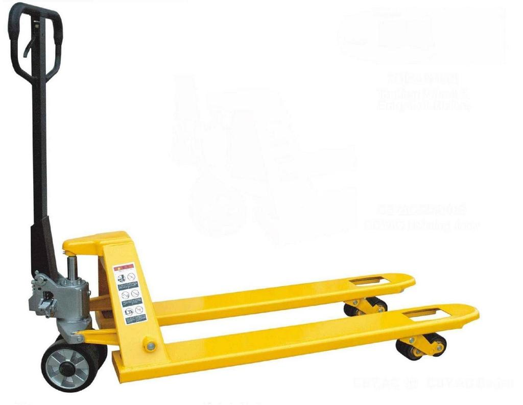 A hand pallet truck similar to the one used to unload the engine from the semi trailer.