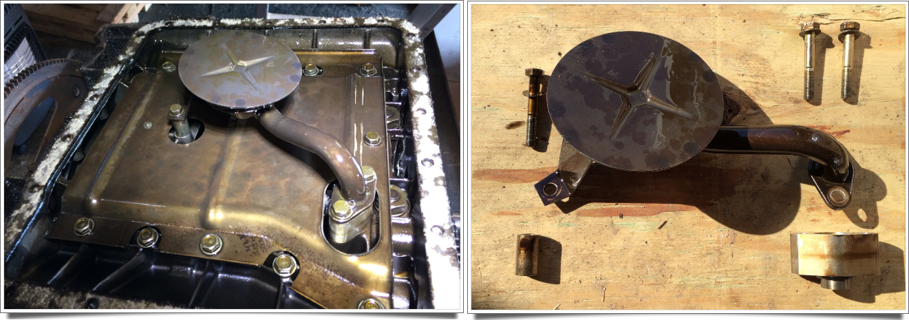 The oil inlet tub as mounted on the engine, and as removed. The O-ring on the oblong tube should be replaced before reassembly.
