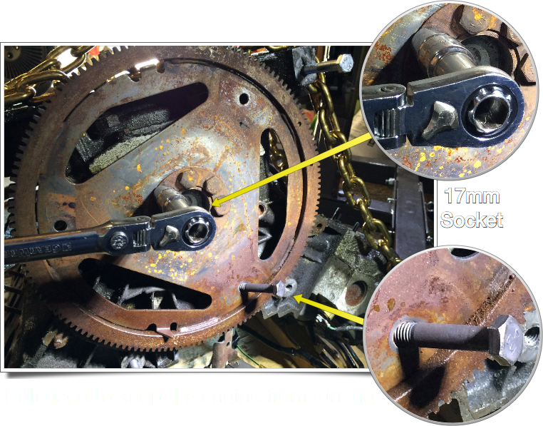 17mm socket used to remove the six (6) bolts holding the flex plate to the engine. A transmission mounting bolt was used to keep the engine from turning.