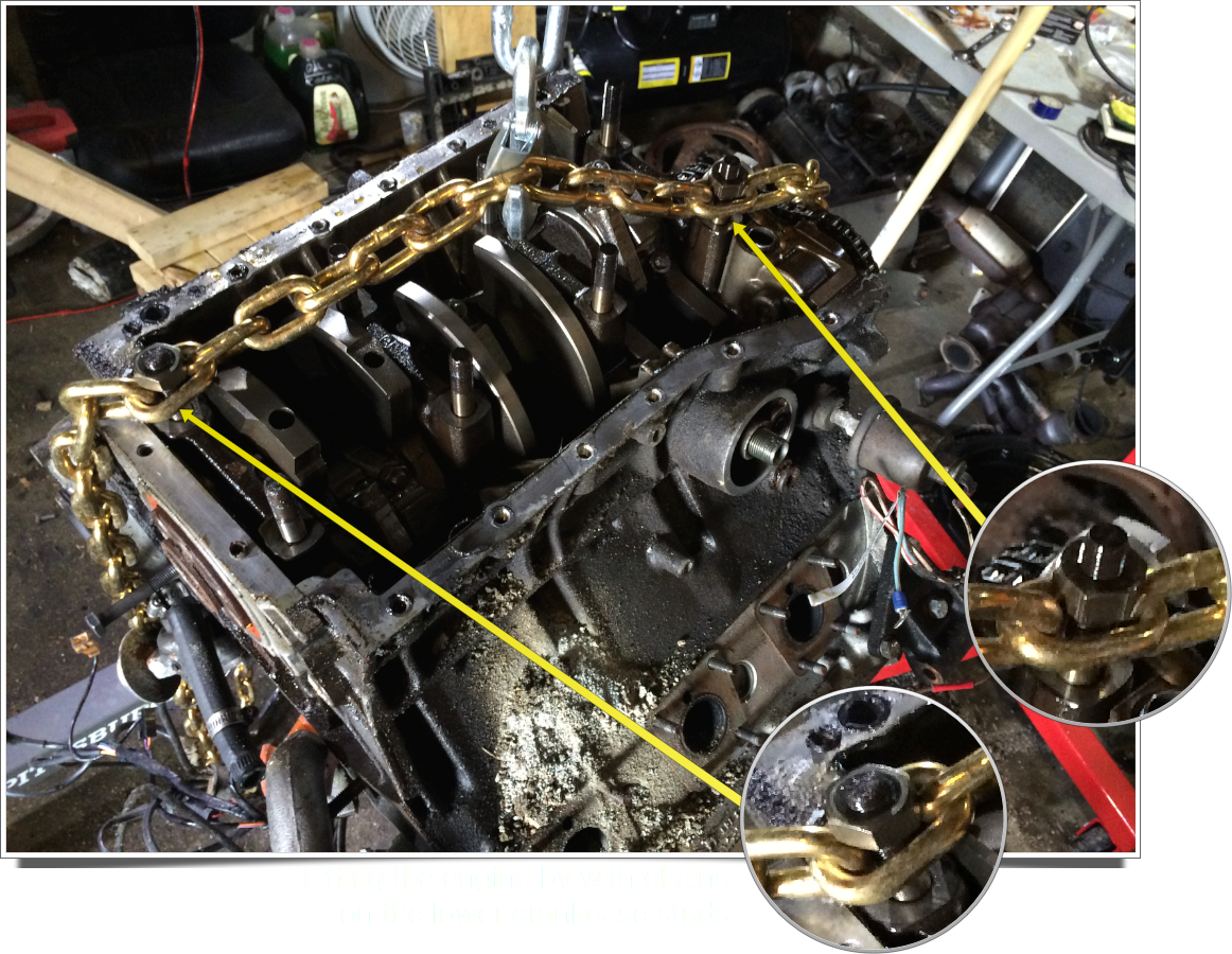 Lifting the upside-down engine from the lower crankcase studs.