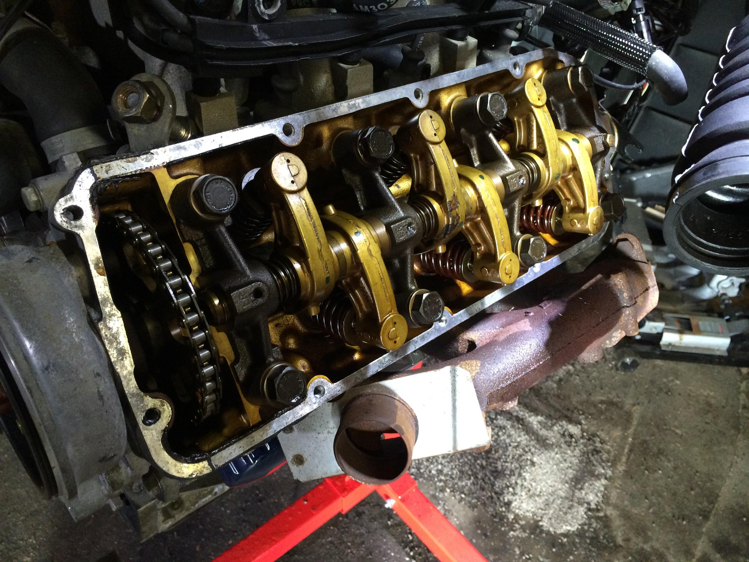 The valve train under the passenger side cylinder head.