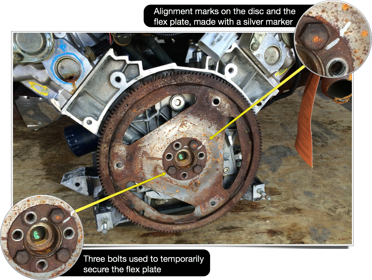 Temporarily mounting the flex plate on the engine so that it can be used to keep the engine from rotating while breaking the main pulley nut free.