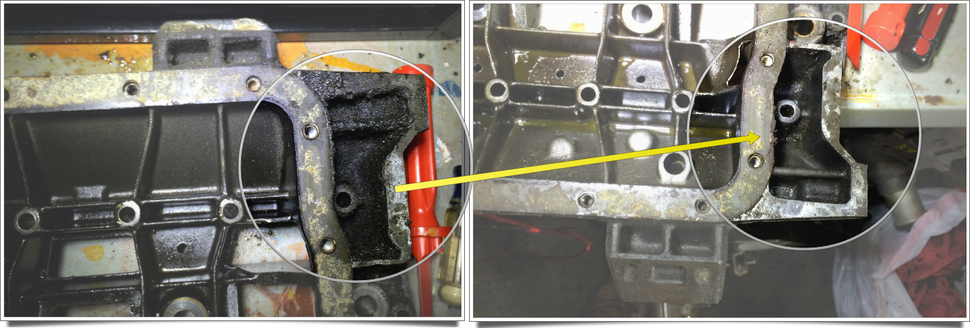 The left image shows the very dirty external parts of the lower crankcase (right side of the picture), while the right shows how much they are cleaned up. This is the bottom of the lower crankcase, with the old oil pan gasket is still attached.