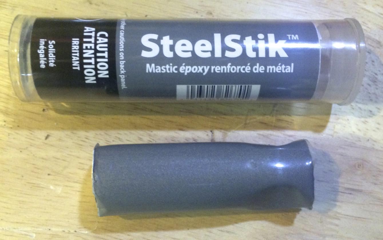 JB Weld Steel Stick comes in a small plastic tube.
