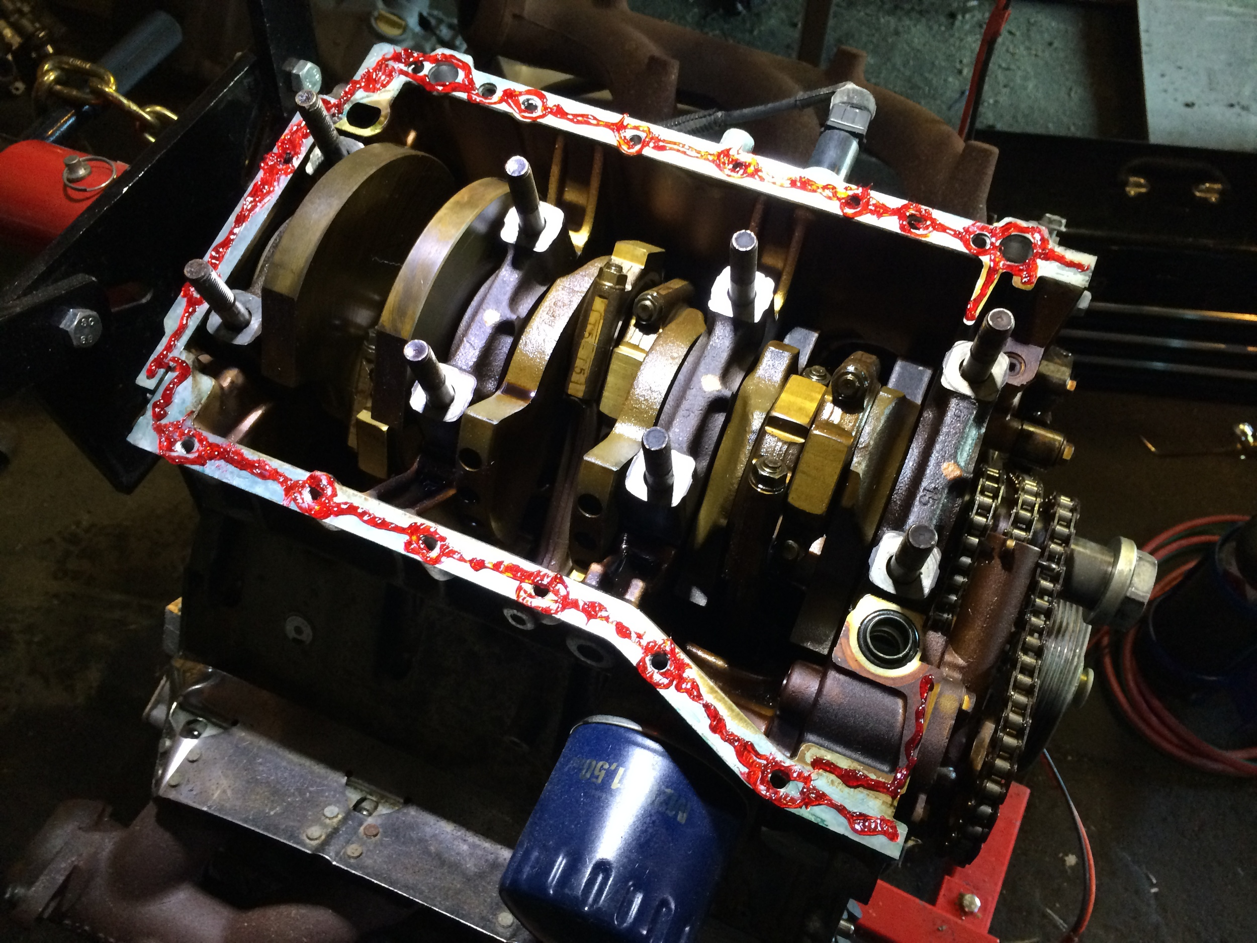 A bead of gasket maker run all around the mating surface on the block.