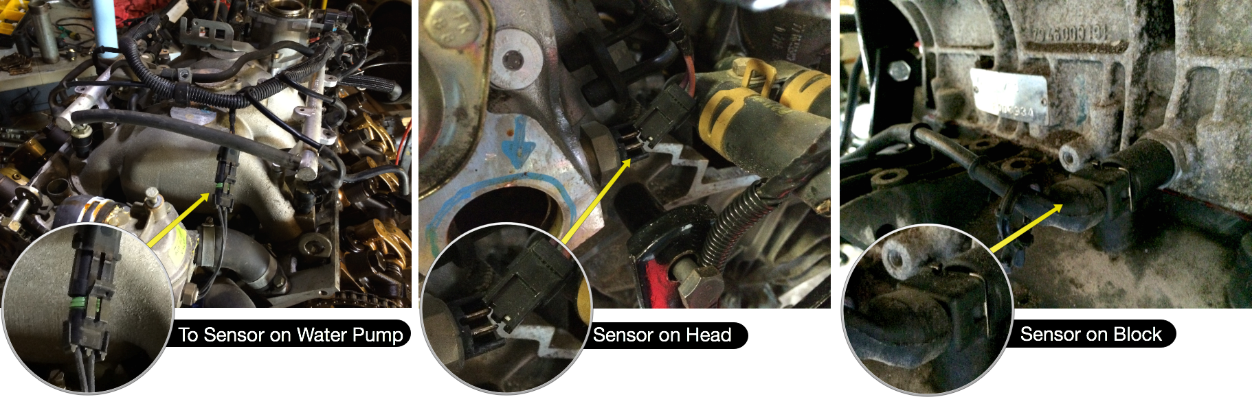 Senors that need to be unplugged before the wiring rails can be removed.