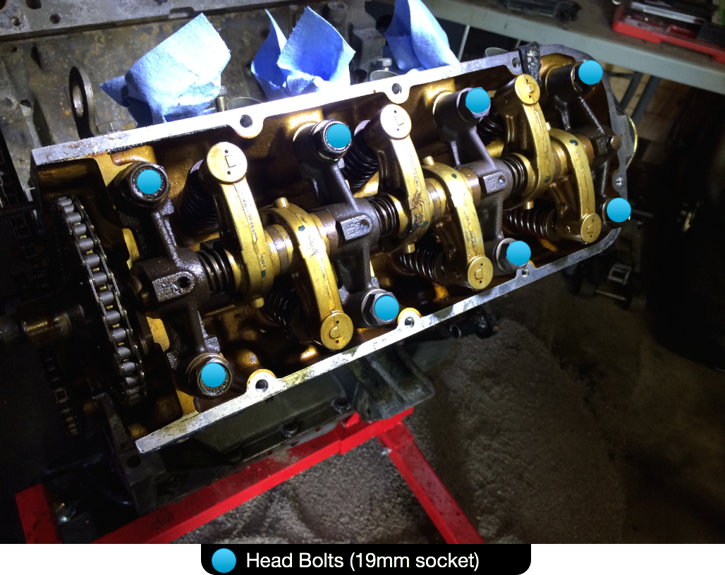 The head bolts, marked with blue dots. Note the timing chain and sprockets have not yet been removed in this picture.