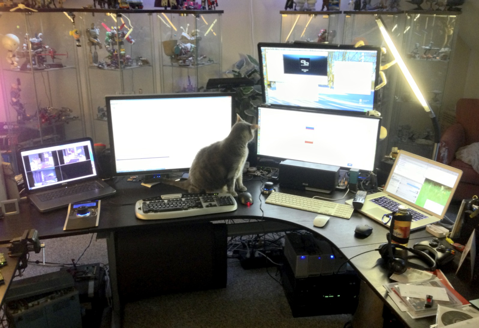 "15"" Dell XPS laptop, 30"" Dell monitor, 16:9 and 21:9 monitors, and 15"" MacBook Pro, with Mac mini and drive enclosures under the desk. Also my cat, Neko."