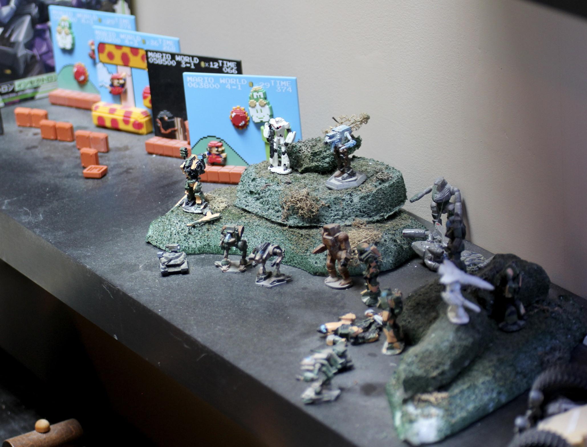 BattleTech  figures,  Super Marrio Bros . vignettes