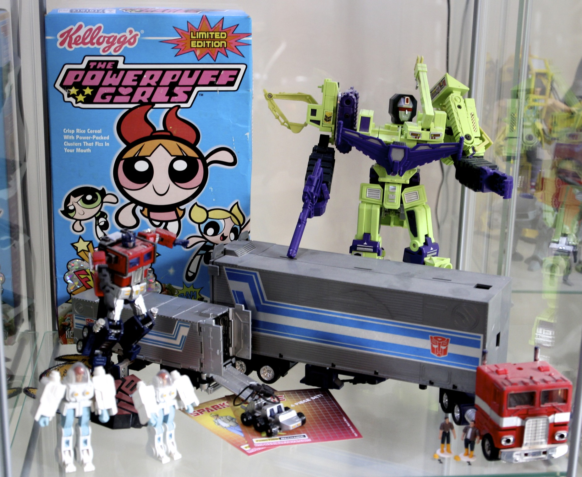Powerpuff Girls  Cereal, Devestator, Optimus Prime, Original Optimus Prime, ExoSuits, Spike and Sparkplug.