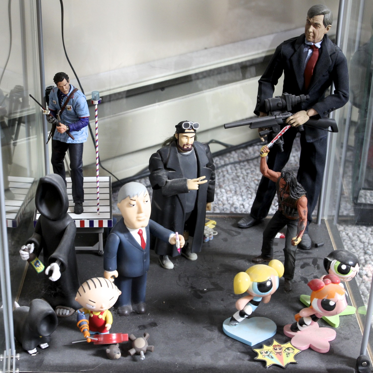 Army of Darkness  Ash, Silent Bob,  X-Files  Cigarette Smoking Man,  Family Guy  Death, Mayor West and Stewie, Machete, Powerpuff Girls.