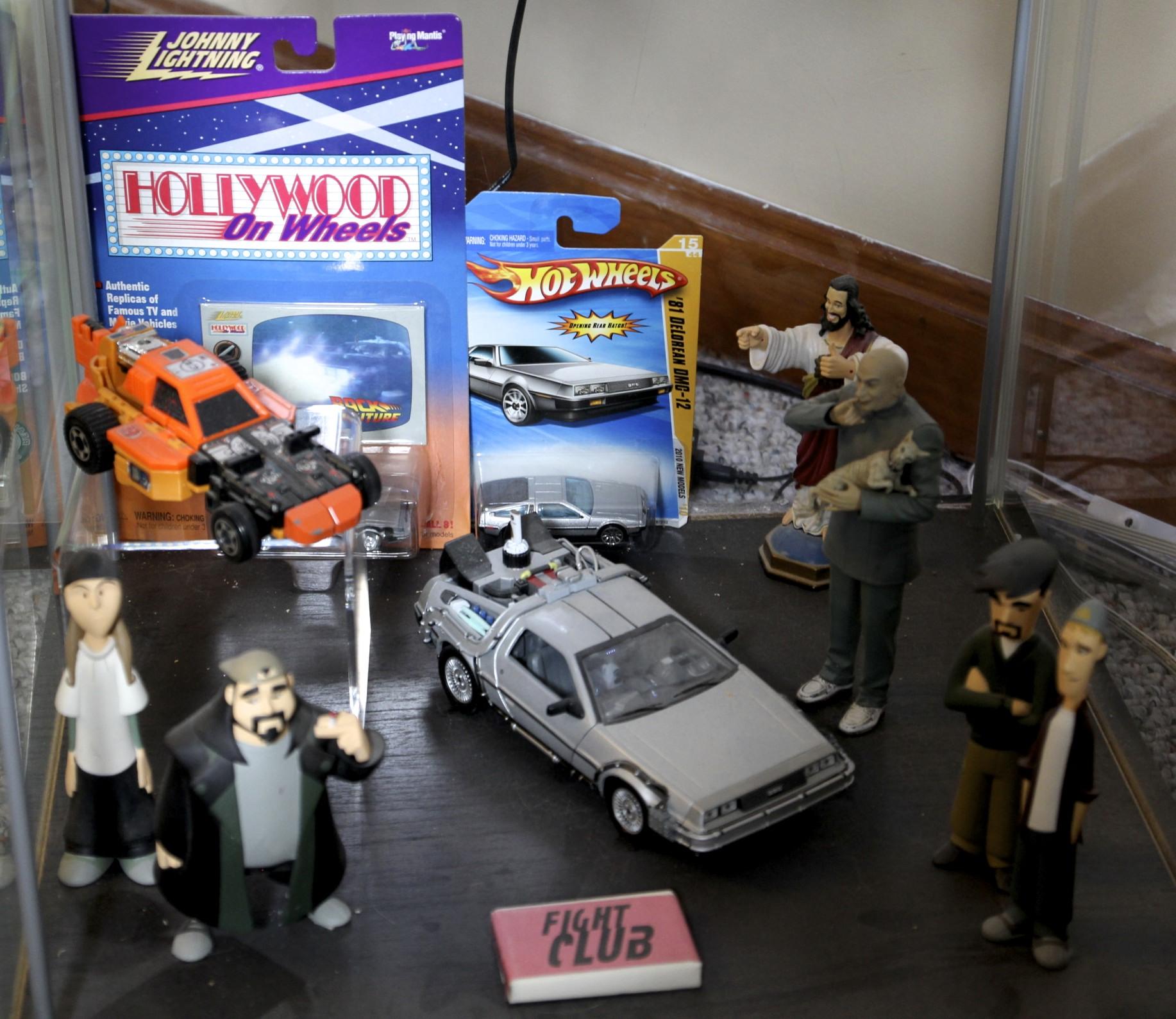 Sandstorm, Time Machine, DeLoreans,  Dogma  Buddy Christ,  Austin Powers  Dr. Evil,  Clerks  Figures,  Fight Club  Soap.