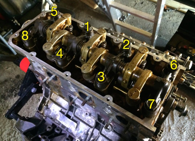 Head bolt tightening order, as per the workshop manual.