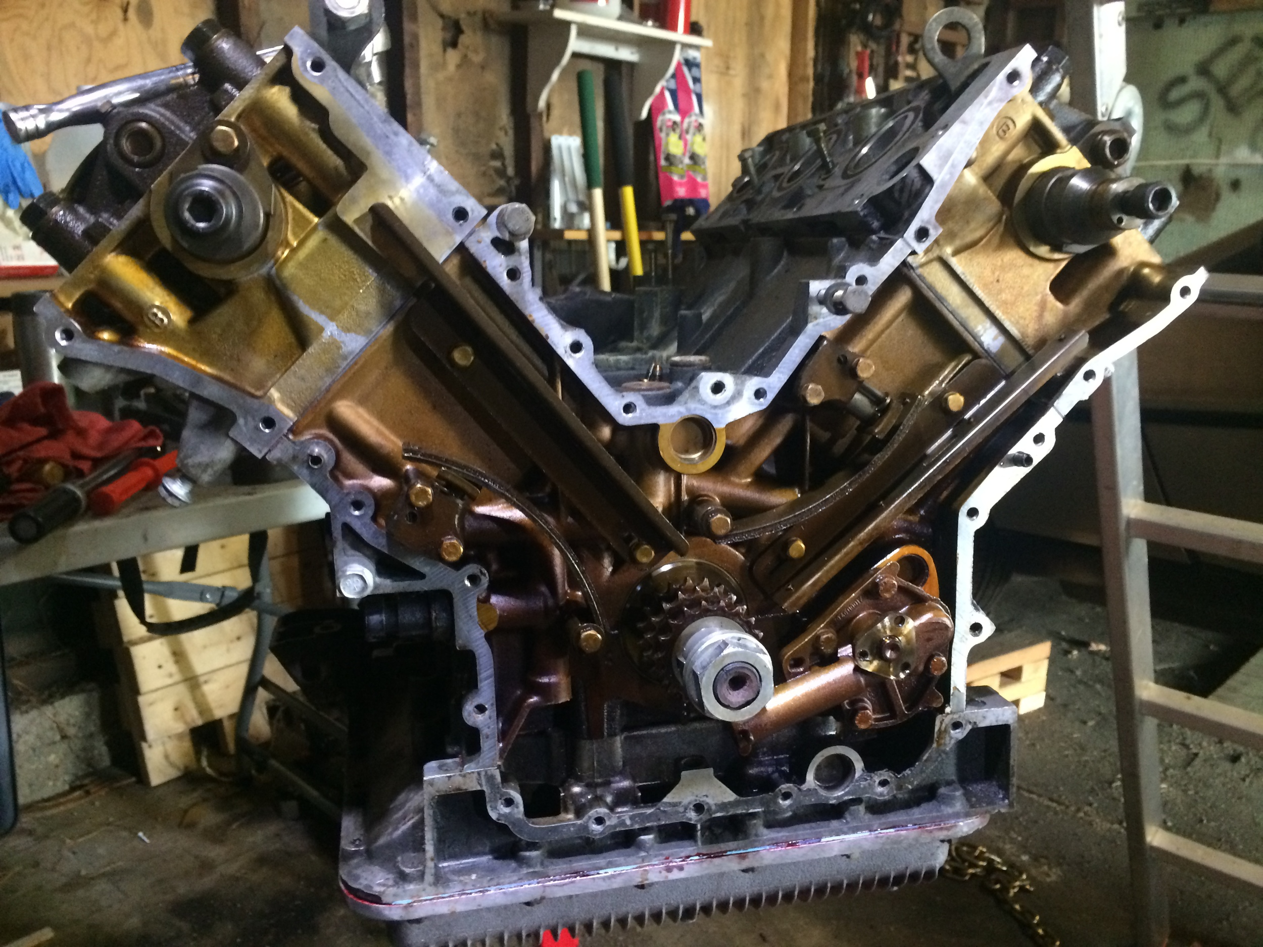 The block with the timing chains removed.