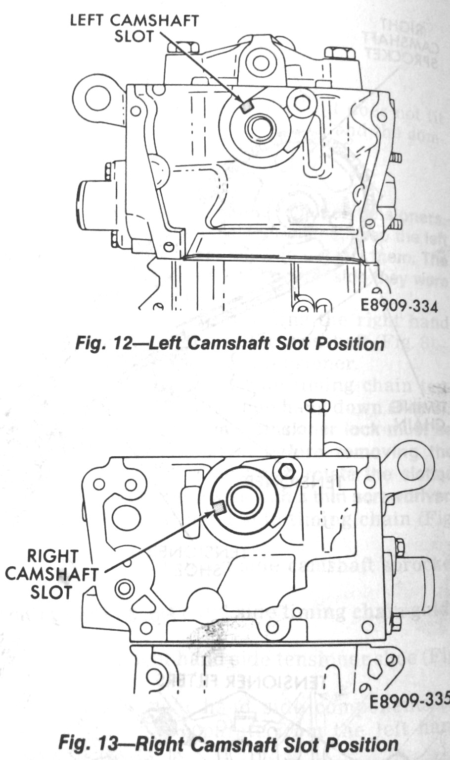 """Camshaft slot alignements for installation, from the Premier/Monaco Manual. Remember that """"left"""" means """"passenger side"""" and """"right"""" means """"driver's side""""."""