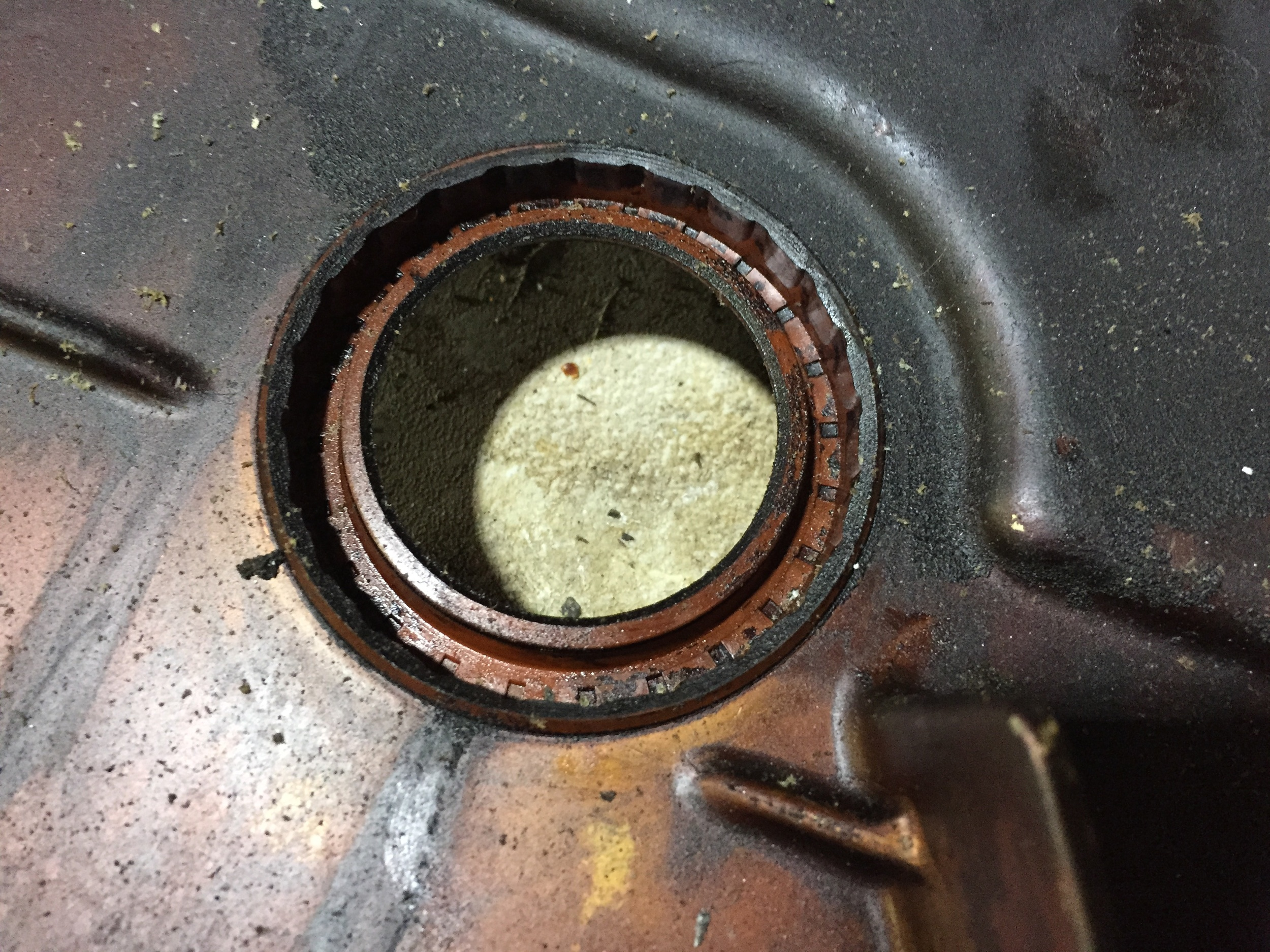 The original oil seal in the timing cover.