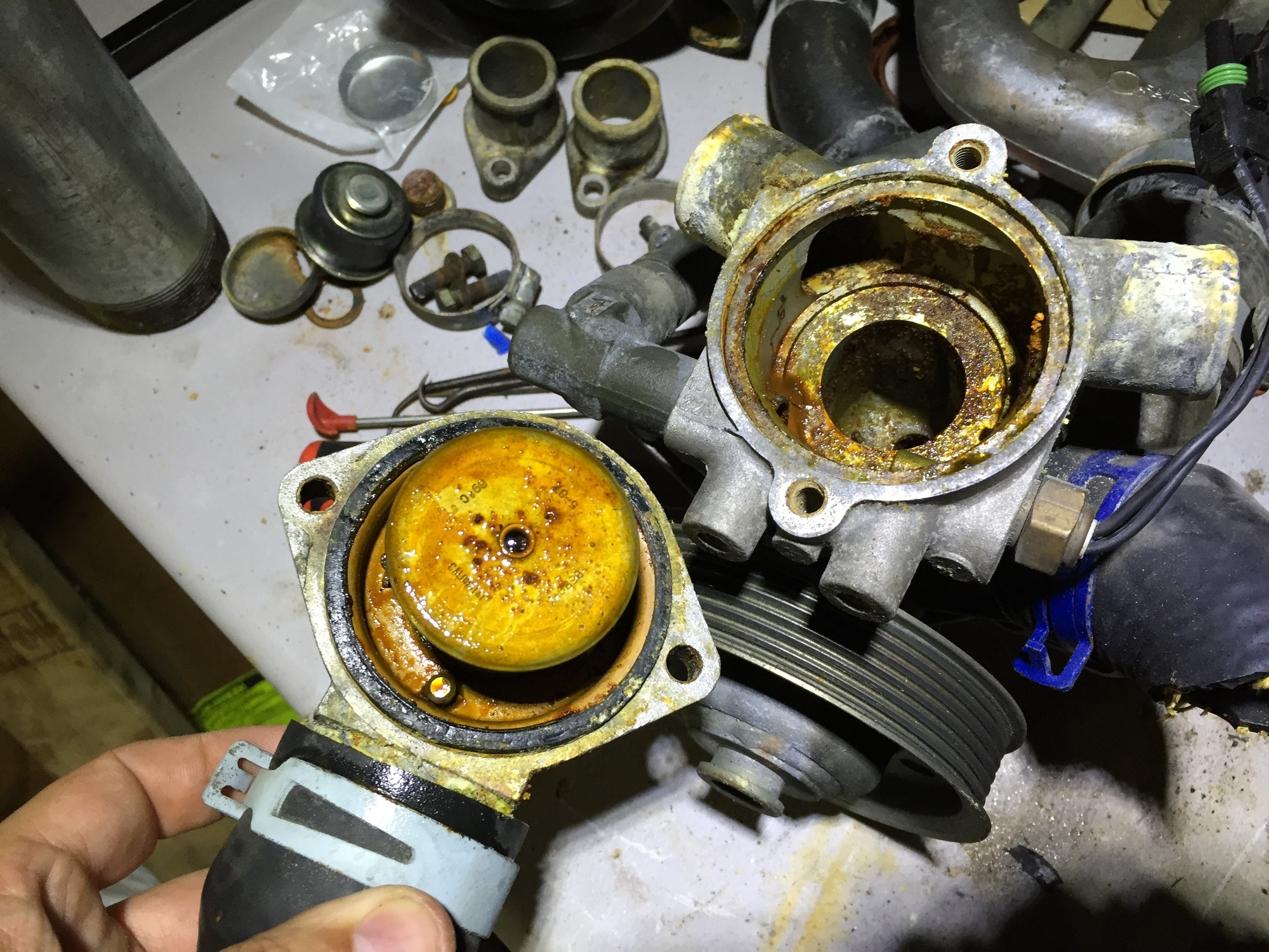The dirty innards of my old water pump with the thermostat housing removed.