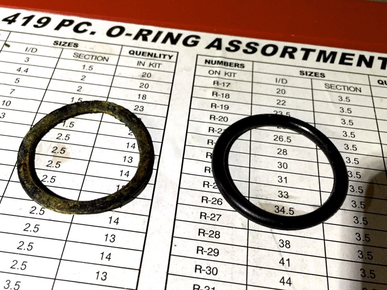 The old (left) and new (right) O-rings from my O-ring assortment.