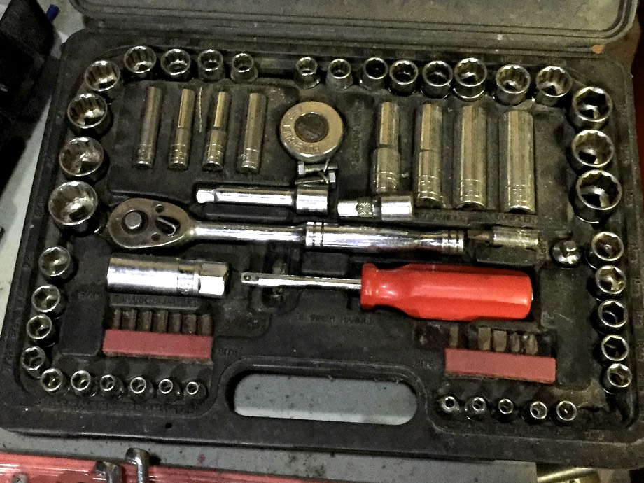 My old socket set, which includes a wrench, bit driver, and metric and imperial sockets in multiple lengths and driver sizes.