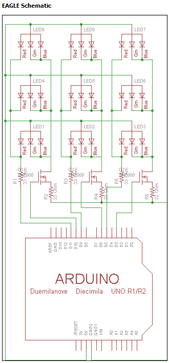 EAGLE layout showing how the Arduino is wired to the LEDs.