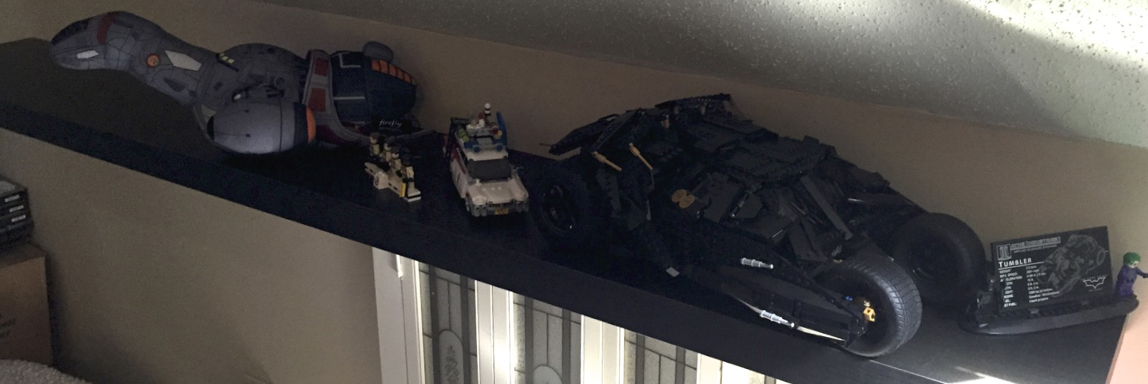 Plush Serenity, LEGO Ghostbusters and ECTO-1, and the Dark Knight Tumbler.