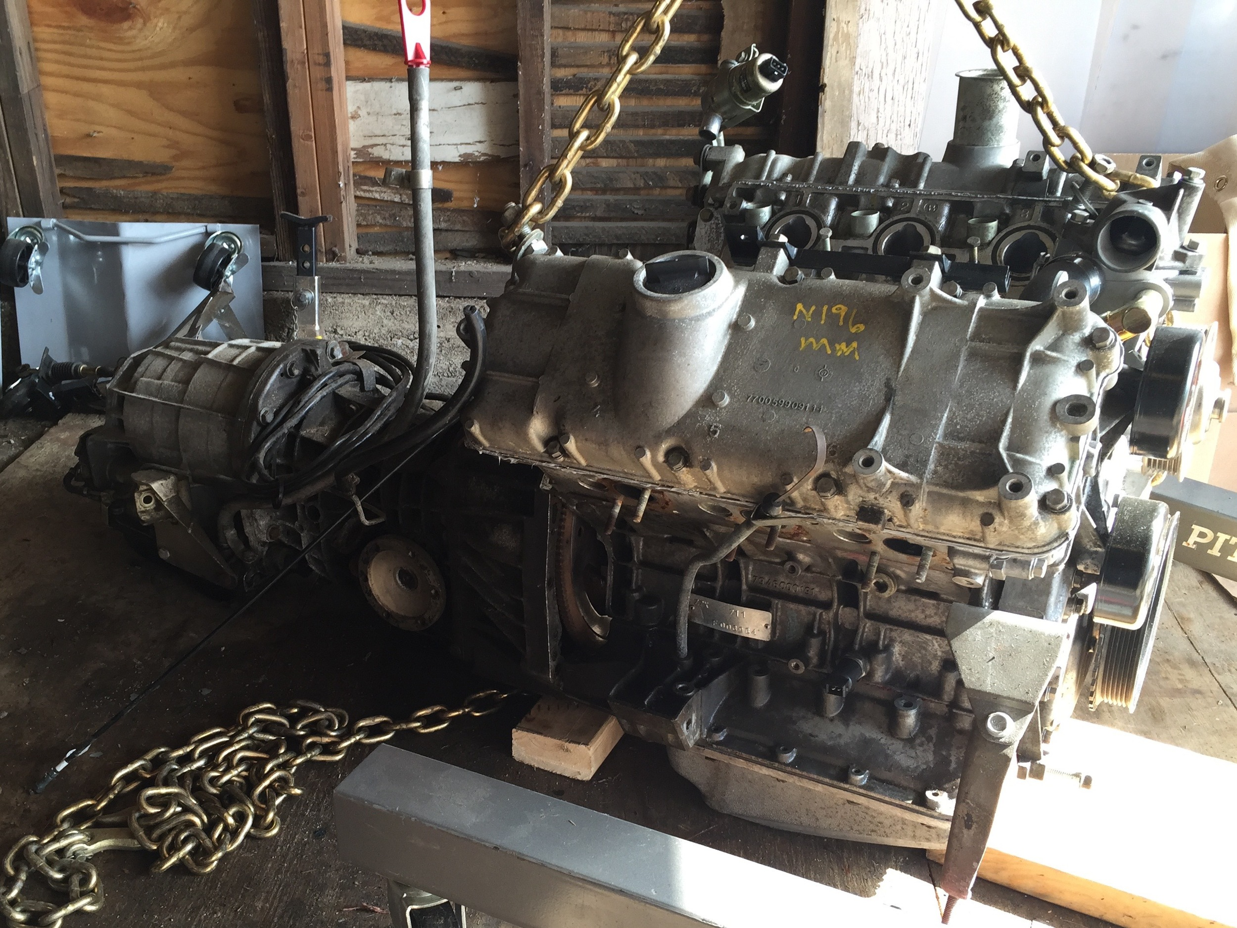 Engine and transmission bolted together.