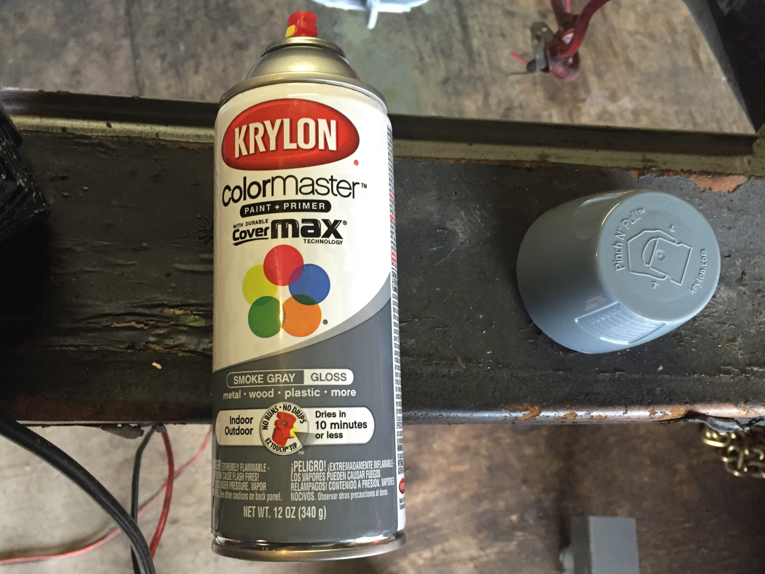 A can of Krylon Smoke Gray, which matches the original epoxy color.