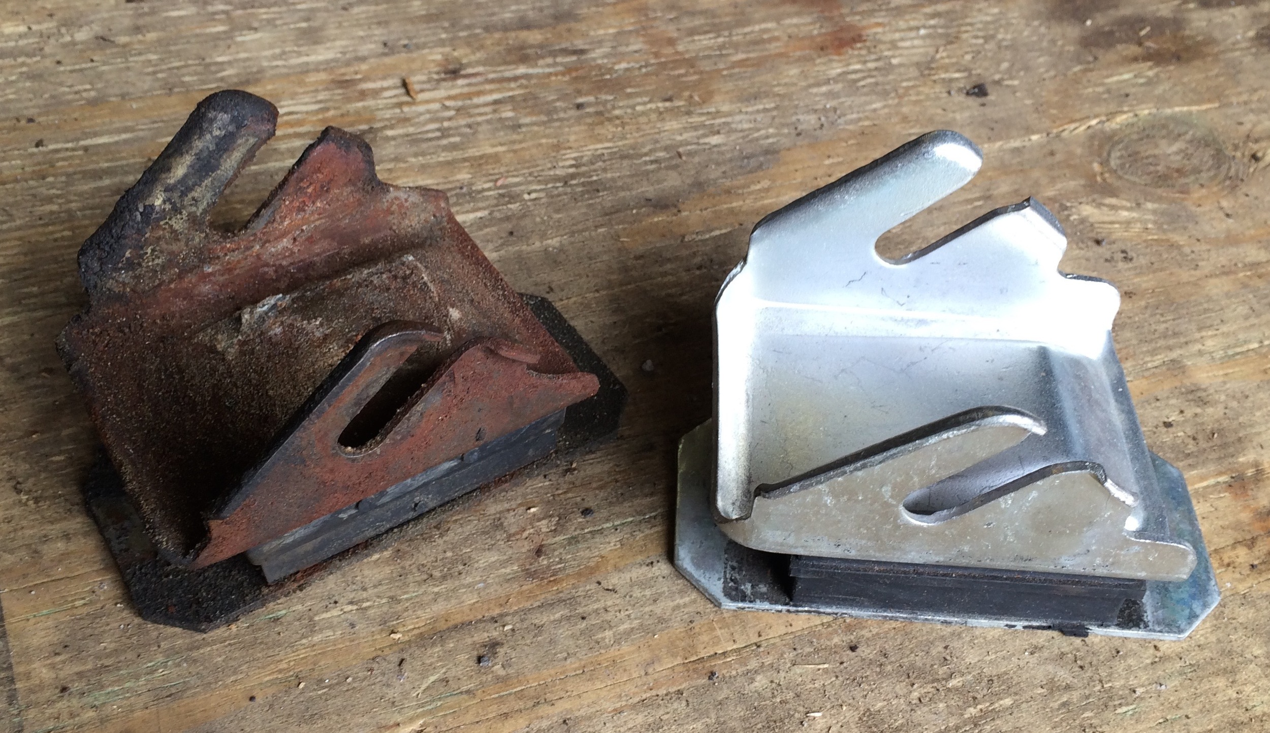 Old and new engine mounts.
