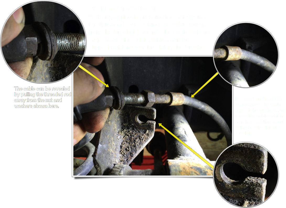A graphic I made for the engine removal post showing how to release the emergency brake cable from the bracket.